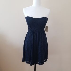 Navy blue strapless mini dress